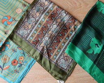 3 ALL Silk Green Square and Long ECHO Scarves Scarf