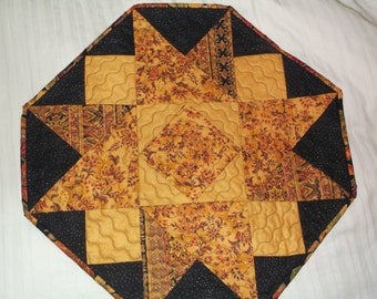 Elegant twisted star table topper quilted fall topper