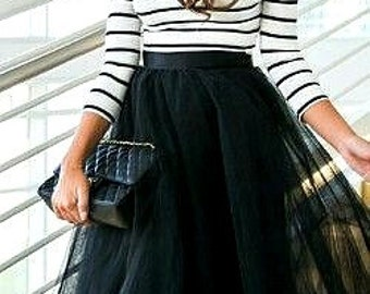 Long Black tulle tutu skirt, maxi skirt, color of your chose