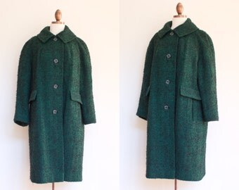 vintage 1960s green and black marled wool coat / 60s Corner Casuals dark green cocoon coat / M