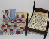 RESERVED FOR CAROL  Small doll quilt, sheet, 4 pillows