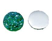 10 pcs Druzy Resin Embellishment Cabochons Green AB- 12mm (1/2 in)