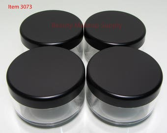 100 Cosmetic Jars Clear Plastic Beauty Containers - 30 Gram (Matte Black Lids) - 3073-100   FREE US Shipping