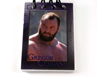 Game of Thrones Gregor Clegane The Mountain Upcycled Trading Card Book Notebook