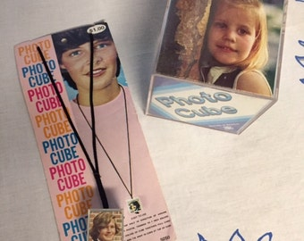 Vintage 1970's Photo Cube and Necklace