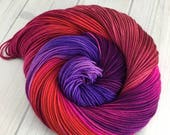 "RTS- ""She's All The Way Up"", Hand Dyed, Superwash Merino Wool, Sport Weight, Heavy Sock, Knitting, Yarn, Crochet, Indie Dyed"