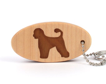 Portuguese Water Dog Key Chain, Wood Dog Breed Key Fob, Pet Key Ring, Scroll Saw Key Chain, Walnut