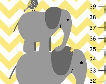 Kids growth chart, Yellow and Gray Chevron, Elephant Nursery Wall Art, Personalized Kids Growth Chart, Elephant Decor