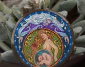 Triple Goddess (Mother, Maiden, Crone) Mandala - 1.5 inch Wooden Pendant