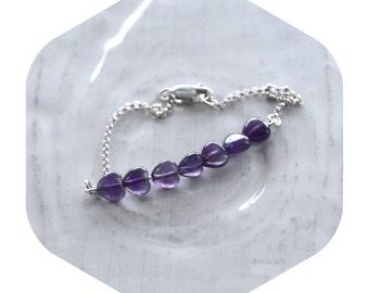 Small Amethyst Heart Chain Bracelet