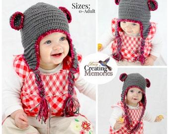 Crochet Pattern: Teddy Bear Baby Hat w/ earflaps, Child, Teen, Women Sizes, Crochet Baby Hat, Baby Animal Hat, Crochet Beanie