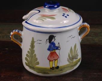 HB Quimper, France, Covered Sugar Bowl / Jam Jar