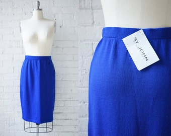 """St. John by Marie Gray Royal Blue Wool and Rayon Knit Pencil Skirt 