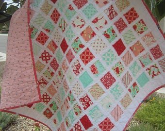 Free Shipping U.S. Only......Baby Girl Quilt....Vintage Modern Look .....Fray Edge...So Soft... Pretty Flowers....Ready to Ship