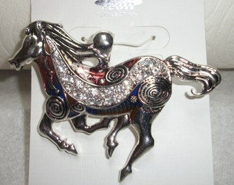 Western Red Multicolored magnetic horse pendant