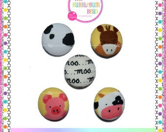 """7/8"""" FARM ANIMALS Kawaii Covered Button, Sewing Notion, Buttons, Bento Theme Buttons, Whimsical Buttons, Fabric Covered Shank Button"""