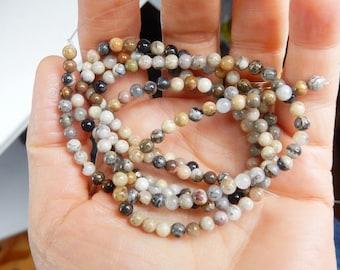 4mm Silver Leaf Jasper round  beads , full strand (15.5 inches)