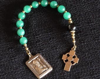 "St Patrick One decade Catholic rosary, an ""Irish Tenner"" with Celtic Cross."