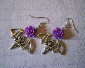 Bat earrings with flowers gothic lolita