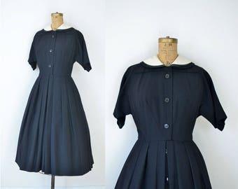1950s New Look Dress / 50s Black Wool Day Dress