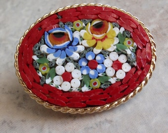 Italian Mosaic Brooch Oval Floral Gold Tone 071815AR