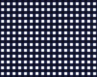 """Riley Blake - Medium gingham in NAVY blue dark blue and white - 1/4"""" Gingham check Fabric - cotton sewing quilting fabric - choose your cut"""