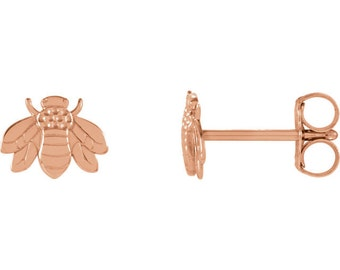 14k Gold Bee Earrings - Tiny Solid Gold Honeybees. 14k Yellow, Rose, and White Gold. Gardener &  Naturalist Gift Ideas for Her