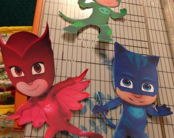 "3 PJ Mask Cutouts 7""-8"" for Centerpieces Party Decorations Red Blue Green"