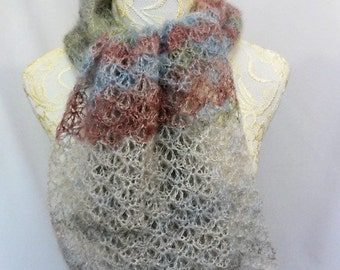 mohair silk lacy scarf dusty pastels blues, mauves and taupes