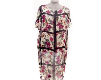 Bright floral chiffon tunic, bohemian boho look