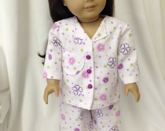 Doll Pajamas to fit an American Girl Doll in Pinks and purple, long sleeves