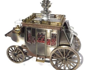 Stage Coach Decanter and Shot Glasses Music Box 1970s barware Kitchy Chic
