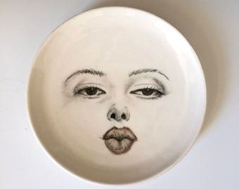 "Woman's Face, Woman kissing,  Porcelain Plate, Hand Drawn Face on an 8"" Plate, Face Plate on Porcelain"