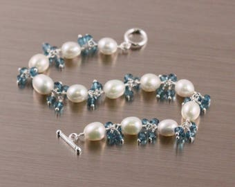 Freshwater Rice Pearl London Blue Quartz Bracelet, White and Blue, June Birthstone, Sterling Silver, Gemstone Cluster, Toggle Clasp, Teal