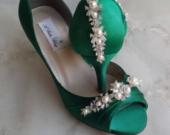 Emerald Wedding Shoes Emerald Green Bridal Shoes with Pearls and Crystals  or PICK FROM 100 COLORS Bridesmaid Shoes