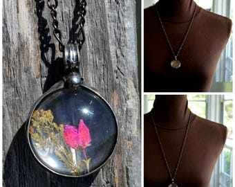 Pink Flower Necklace, Red Dry Pressed Heather, Pink Pendant, Hot Pink Necklace, Pink Pendant Necklace, Dried Flowers, Pink Jewelry (2754)