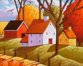 Pumpkin Harvest Rural Landscape, Farm Fields Country Scene, 8x11  Modern Folk Art Print by Horvath, Autumn Thanksgiving, Fall Artwork Decor