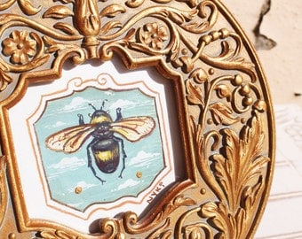 Tiny Round Original One of a Kind Bee Gouache Painting with Decorative Golden Frame