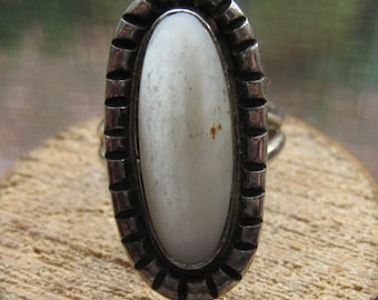 Southwestern Vintage Sterling Silver Abalone Shell Ring Women's Ladies Size 7