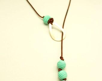 Teal & Copper Necklace-Larait Necklace-Boho Jewelry-Leather Larait Necklace-Polymer Clay Necklace-Y Necklace-Leather Jewelry-Beaded Necklace