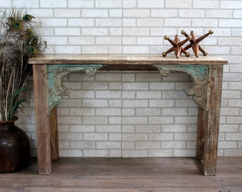 Reclaimed Console Salvaged Indian Architectural Elements Jodhpur Whitewashed Turquoise Carved Wood Media Stand Furniture Indian Boho
