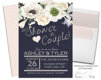 NAVY + CREAM Bridal Shower Invitations - Couples Bridal Shower Invitations - Shower The Couple Invites - Coed Bridal Shower Invites