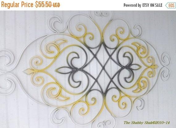 Ombre Wall Decor/ Fleur De Lis / Yellow /Gray By Theshabbyshak