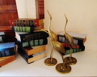 Vintage Set of Three Brass Birds, Set of Cranes, Palm Beach Decor, Brass Decor, Leonard Brass