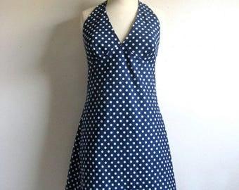 Vintage 1960s Scooter Dress Navy Blue White Mini Halter Dress 11-12