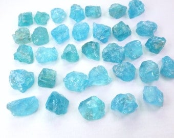 Natural Blue Apatite Rough Top Cabs. Hand cut Apatite Cabochons. Rough Top Flat Bottom. EZ Setting / 2 Pcs. 9 - 11mm +/- AP429