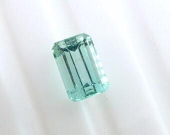 Blue Tourmaline. Indicolite. Light Blue / Green. No Treatments. Emerald Cut.  1 pc. 3.21 cts. 10x7x6 mm  (TM2525)