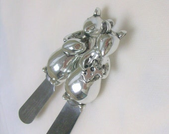 2 Silver Mice Butter Knives /
