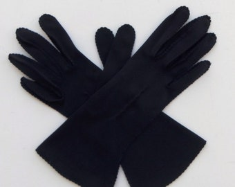 Vintage 50's 60's Women's Gloves Navy Blue Nylon Size 6 / 6.5