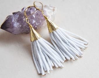 White Tassel Earrings, Tassel Earrings, Beaded Tassel Earrings, Festival Earrings, Bohemian Earrings, Boho Earrings, Long Earrings,Statement